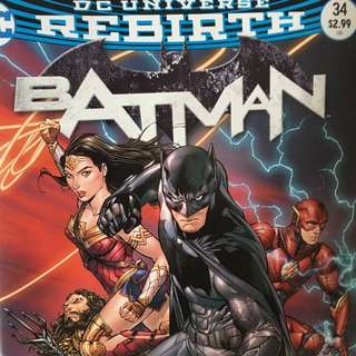 DC Rebirth Batman Issue #34 (Justice League Movie Variant Cover)