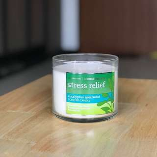 Bath & Body Works Stress Relief Eucalyptus Spearmint 3-Wick Scented Candle (New, BBW)