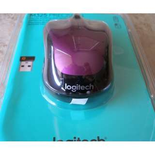 Brand New Logitech Wireless Mouse M325 with Designed-for-Web Scrolling - Vivid Violet W/Battery