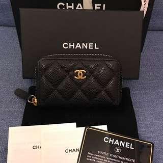 專櫃正品 92成新 Chanel 香奈兒 小香 荔枝牛 零錢包 ㄇ字 拉鏈