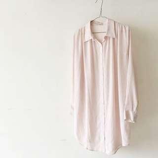 日本購入 杏色雪紡紗長版襯衫式洋裝 #舊愛換新歡