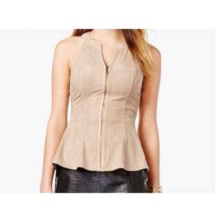GUESS Faux-Suede Peplum Top - Size S