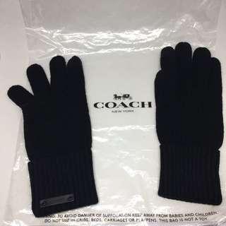 COACH Knit Tech Gloves Black 黑色手襪 Touch Mon