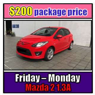 Fri to Mon Car Rental Mazda 2 1.3A (3-Day Weekend Package)