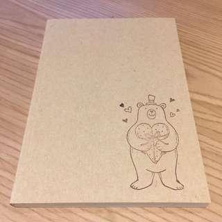 愛心熊 牛皮紙色空白筆記本