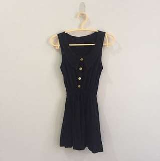 Little black dress with gold button