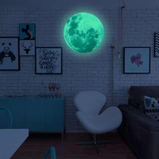 (全新包平郵)夜光月亮牆貼12cm X 12cm