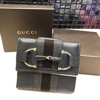 Gucci Women's Grey Black Grey Web Detail Trifold French Leather Wallet with Coin Pocket 古馳深灰黑灰Web三摺錢包(連錢幣格) New & Real