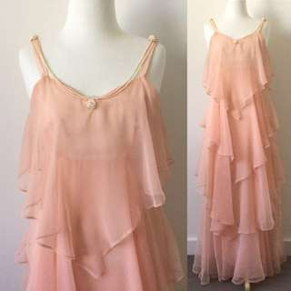 Vintage 1930's Style Peach Pink Floaty Dress Evening Gown With Beads and Roses Extra Small