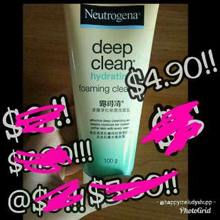 Clearance sale @ $4.90 mailed  !!! Neutrogena deep clean hydrating foaming cleanser