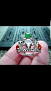 缅甸天然A货翡翠-925银镶嵌冰糯种特色三彩小蛋面精美戒指