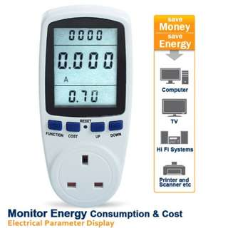 Original Power Energy Watt Voltage Amps Meter Analyze Electricity Usage Singapore/UK Plug