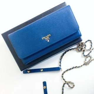 Prada 水波紋藍色長銀包