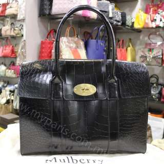 Mulberry Black Patent Leather Bayswater Top Handle Bag