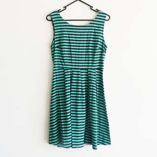 Princess Highway Size 8 Dress Blue/Green Black Stripe with Boat Neck and Low Back