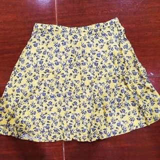 H&M Yellow Floral Skater Skirt