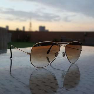 Authentic Rayban Aviator Gradient Gold