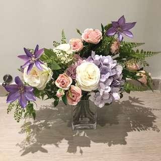 粉系法式教堂婚禮佈置大型花束/檯花(連花瓶)