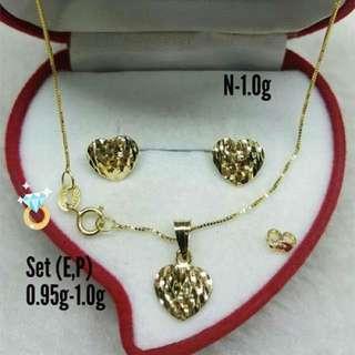 18K Saudi Gold necklace & earring