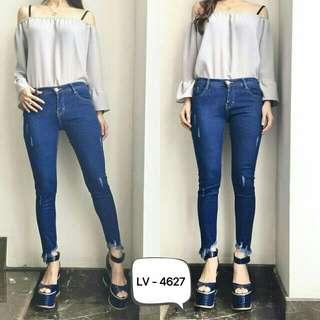 Celana jeans wanita punny jeans ripped jeans punny sobek jeams sobek