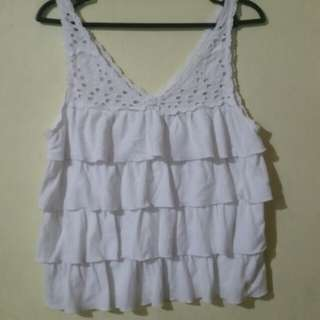 White Ruffled Abercrombie & Fitch top