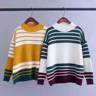 日系冬條紋針織女毛衣