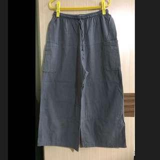 #冬季衣櫃出清 灰色 短褲 五分褲 7分褲 綁帶 雙側大口袋 直筒褲 寬褲 休閒褲 顯瘦