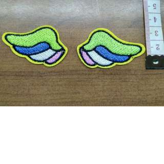One pair of wings applique iron on embroidered patch fabric badge decoration- free normal postage