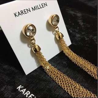 (NEW) Karen Millen Jewel Tassel Gold Earrings