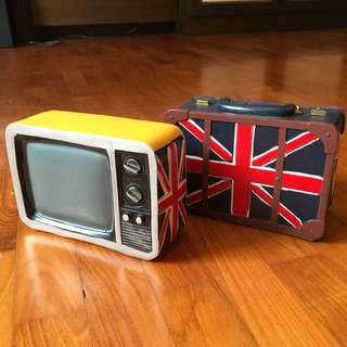 Coin Bank Vintage-British Inspired TV / Luggage