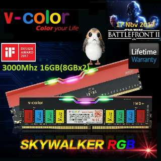 V-Color DDR4 Skywalker RGB U-DIMM 3000Mhz 16GB(8GBx2).