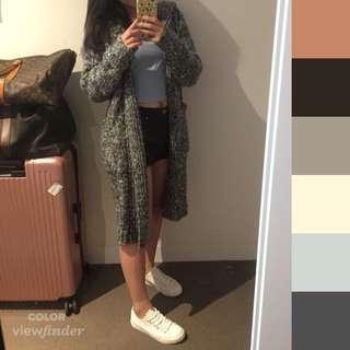 Mix knit grey cardigan from Korea