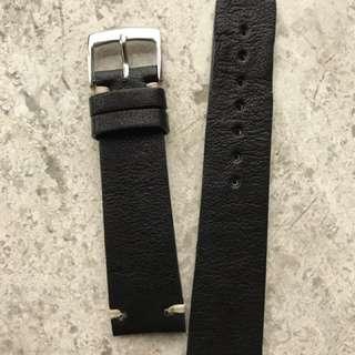 黑色牛皮錶帶20x18mm
