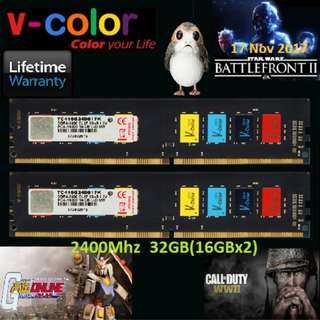 V-Color DDR4 Colorful 32GB(16GBx2) 2400MHz Unbuffered DIMM Dual Channel Kit.