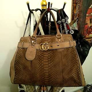 GUCCI Brown Python GG Running Large Satchel Bag