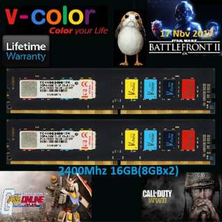 V-Color DDR4 Colorful 16GB(8GBx2) 2400MHz Unbuffered DIMM Dual Channel Kit. (From Mining/Gaming)