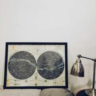 Vintage Solar system poster with frame