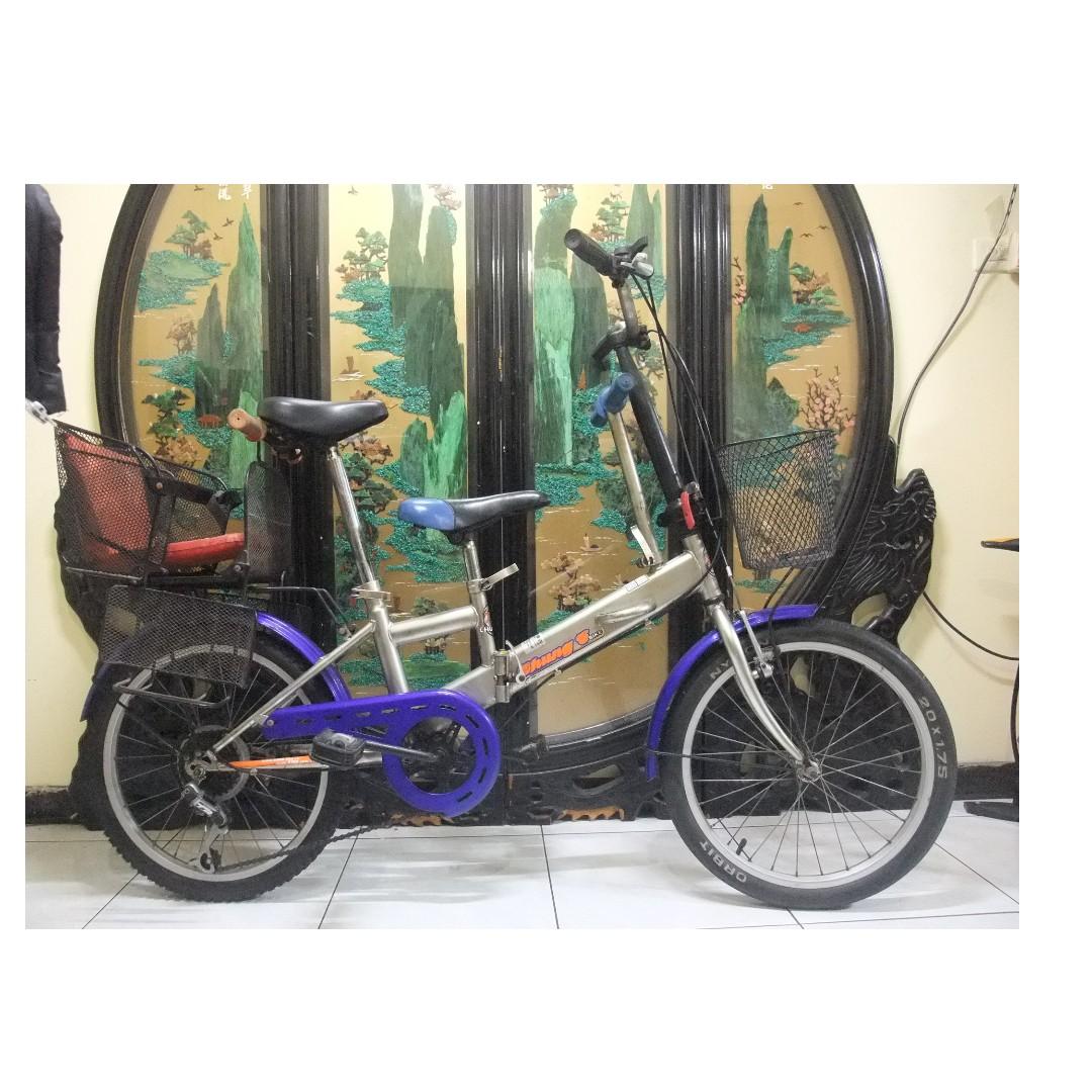 台灣製成益20吋6段變速折摺疊避震親子腳踏車.ˋ附安全椅.桃園市自取
