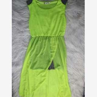 Neon Long Dress w/ Slit