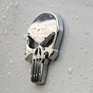 Zinc Alloy Metal Black Silver Chrome Skull 3D car motorbike sticker