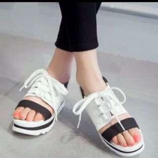 Loafers Putih Tali - Wedges Tali Putih - Heels Wedges Main - Wedges Heels Pesta - Sepatu Santai Wanita