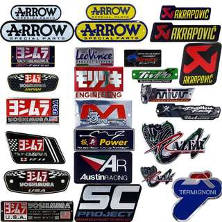Motorbike Exhaust pipe muffler sticker heat proof heatproof arrow akrapovic yoshimura leovince austin racing