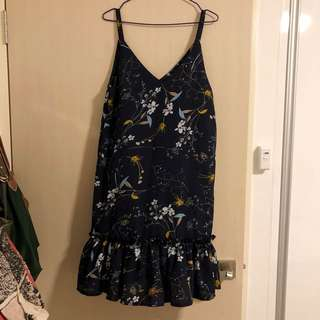 NAVY FLORA V NECK DROP WAIST DRESS