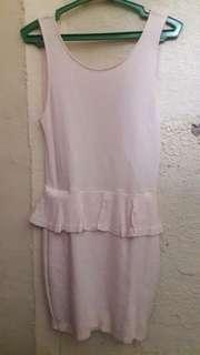 Baby Pink Zara Trufaluc Peplum Ruffle Skirt Sleeveless Mini Dress