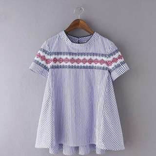 High Neck Embroided Stripe Blouse