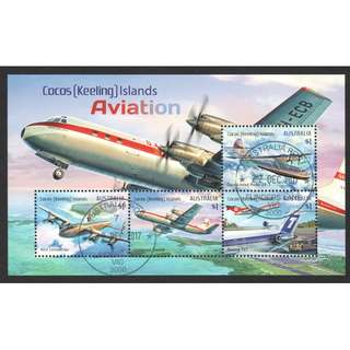AUSTRALIA COCOS (KEELING) ISLAND 2017 AIRPLANES AVIATION HISTORY SOUVENIR SHEET OF 4 STAMPS IN FINE USED CONDITION