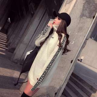 🚚 韓版設計款氣質刺繡長版針織上衣連衣裙洋裝