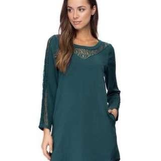Zalora Lace Insert Swing Dess (Green)