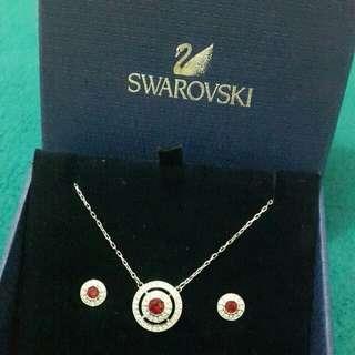 Swarovski Ruby Set of Earing & Necklace
