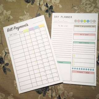 Bill Payments and Day Planner Booklets